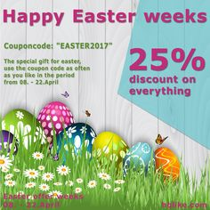 "The special gift for Easter, Use the coupon code ""EASTER2017"" as often as you like in the period from 08 to 22 April 2017 and receive a 25% discount on the entire purchase. After your purchase, go to the shopping cart and enter the code ""EASTER2017"" under coupon code. https://hqlike.com/Sale https://hqlike.com"