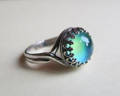 Mood Ring Sterling Silver 925 (Antique) - 10mm - High Quality - adjustable on Etsy, $76.12