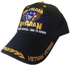 36f39c3a3eb86 Amazon.com  Vietnam Veteran Hat and Sticker Black Time Served Army Navy  Marines  Sports   Outdoors