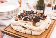 Chocolate & Salted Caramel Pavlova | Millbridge Court Wedding Outdoor Ceremony & Pastel Flowers With Bride In Embellished Dress & Bridesmaids In Sequinned Coast Tops Images Kirsty Mackenzie