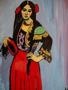 Spanish fashion inspiration. Ornate bolero jacket over red skirt. Española con pandero - Matisse