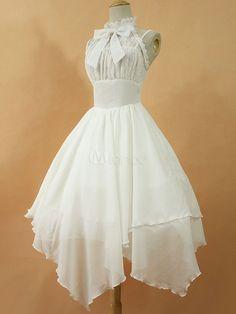 Gothic Lolita Dress JSK The Dawn White Chiffon Lace Bow Haltered Lace Up Irregular Lolita Jumper Skirt