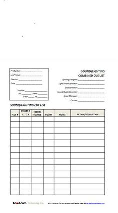 Simple lighting cue sheet for students backstage ideas easy to use lighting and sound cue forms maxwellsz