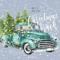 Watercolor Clipart to create and make! by ReachDreams Christmas Truck, Blue Christmas, Vintage Christmas, Xmas, Christmas 2019, Vintage Clipart, Watercolor Clipart, Watercolor Wood, Easter Greeting Cards