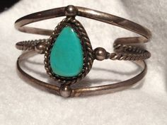 Vintage Navajo Sterling Silver Turquoise Cuff..SALE by Tessey2, $95.00