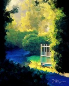 A path leads through a garden gate in this glowing digital painting by D. Perry Lawrence. Rapid Delivery on all prints and cell-phone cases by D. Perry Lawrence