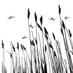 Muursticker Echt gras silhouet en enkele libellen - vector