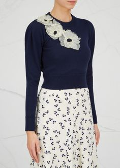 ROKSANDA navy wool jumper  Off white organza appliqué with yellow embroidery, ribbed trims Slips on 100% wool