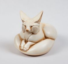 Pebble Fennec Fox Totem -- Ivory -- Animal Figurine -- Windstone Editions -- by WindstoneEditions on Etsy Fox Totem, Fennec Fox, White Pebbles, Animal Statues, Felt Toys, Popular Culture, Handmade Toys, Wooden Toys, Ivory
