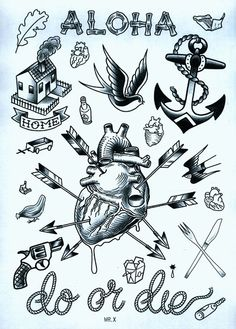 tiny bottle: tiny matches, leafm tiny chinese take-out box: Tattoo flash by Duncan X