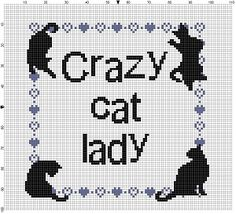 Crazy cat lady...  Do you know that person? Are you that person? This would be the perfect gift form someone with too many cats, or just one cat, or ironically with dogs - I dont judge. Feel free to change the colour of the hearts to match your (or your friends) decor. I wont mind. Modern cross stitch pattern is designed on 14 count Aida. It will run a little larger than about 5x7 and will look awesome in an 8x10 frame with a matte. Perhaps you could sprinkle cat hair on the matte to make it…