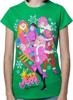 This ladies 80stees.com exclusive Jem shirt shows that Jem and the Holograms can rock any time of the year, even on Christmas. The shirt shows Kimber, Aja, Raya, Shana, and Jem all rocking around a Ch