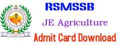 RSMSSB Admit Card 2015 for JE Agriculture Download - rsmssb.rajasthan.gov.in