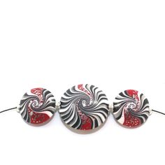 Swirl lentil beads in black, white and red with silver touch, Polymer Clay beads for Jewelry Making, elegant beads Set of 3 by ShuliDesigns on Etsy