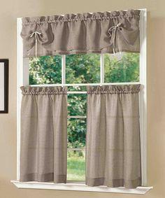 Look at this #zulilyfind! Taupe Lucia Kitchen Curtain Set #zulilyfinds