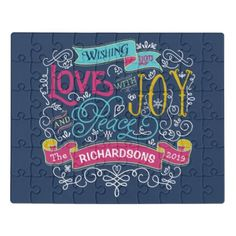 Christmas Typography Love Joy Peace Custom Banner Jigsaw Puzzle - love gifts cyo personalize diy