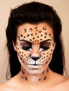 Make Up - DIY Halloween Makeup Looks # Halloween # Halloween Kostüm Amazing Halloween Makeup, Pretty Halloween, Halloween Face Makeup, Leopard Halloween Makeup, Animal Makeup, Cat Makeup, Witch Makeup, Prom Makeup, Makeup Kit