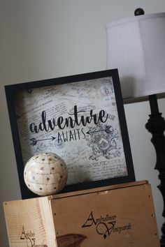 "Adventure Awaits 12x12"" Shadow Box: Ticket Stub, Travel Shadow Box, Adventure, Gift for Traveler by LittleLostButtonUSA on Etsy"