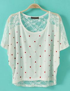 White Short Sleeve Heart Print Hollow Lace T-Shirt - sweet little top for summer & great for Valentine's Day <3