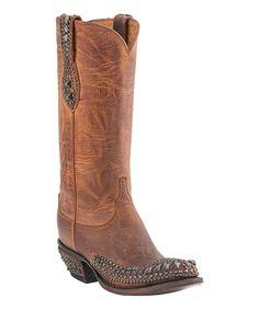 Loving this Peanut Brittle Stud Mad Dog Leather Western Boot - Women on #zulily! #zulilyfinds