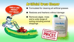 Our Liqui-Genius artificial grass cleaner is specifically formulated for use on all types of grassbox artificial grasses. This product cleans, restores and freshens without damaging the grass. It removes algae, moss and a wide range of soiling including animal droppings. https://www.directa.co.uk/artificial-grass-cleaner?search=grass%20cleaner