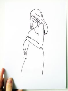 To celebrate you and your baby bump. For a Baby Shower gift, New parents, Nursery Art, totally customisable and individual to you. Cool Art Drawings, Beautiful Drawings, Tattoo Drawings, Face Line Drawing, Outline Art, Penguin Art, Shirt Print Design, Bullet Journal Art, Wedding Prints