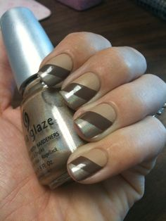 Earth tones triple stripe nails Pretty Nails