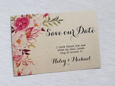 Rustic Wedding Save the Date, Kraft Save the Date Invitation, Watercolour Floral Wedding, Save the Date Postcard. Bohemian, Save the Date