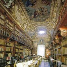 The Library Riccardiana in the Palazzo Medici Riccardia in Florence, Italy