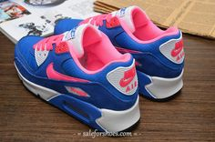 air max 90 outfit,air max 90 women,discount site to buy nike,$49~$69, Womens Nike Air Max 90 Blue Pink White Shoe