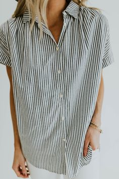 Vertical Stripe Button-Up | Pando Grove Wholesale by ROOLEE