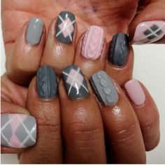 Grey and pink cozy sweater nails                                                                                                                                                                                 More