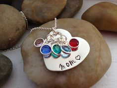 Mom hand stamped heart necklace with birth by thecharmedwife, $33.00