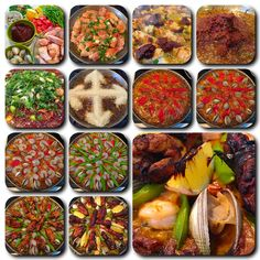 Think of your paella pan as a canvass and decorate it with colorful ingredients in layers. Your eye will be drawn to the symmetry.