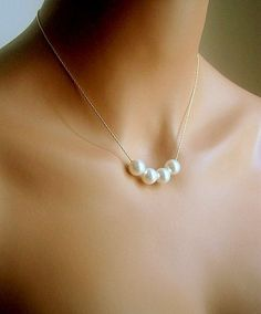 Floating Pearl Necklace In Gold Chain With Four 10mm White Swarovski Crystal Pearl on Etsy, $22.00