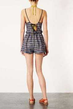 Blue Ziz Zag Playsuit Cover Up - Swimwear - Clothing - Topshop Indonesia