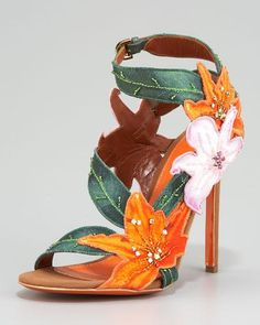 SERGIO ROSSI Embroidered Canvas Flower Sandal