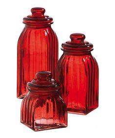 Look what I found on #zulily! Red Glass Jar Set #zulilyfinds