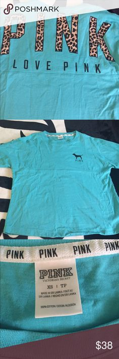 Victoria's Secret teal cheetah crew xs Looks brand new. Hemmed a little PINK Victoria's Secret Tops Tees - Long Sleeve