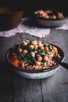 Kabocha Turmeric Coconut Curry with Spinach, Chickpeas and Farro