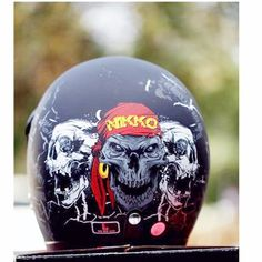 The open face helmet is also known as the motorcycle helmet because it covers the head but not the face. This helmet has a unique looking design that gives a vintage-feel which is very popular. Biker Helmets, Motorcycle Helmet, Open Face Helmets, Jets, Skull, Scooter Scooter, Vintage Silver, Chrome, Collections