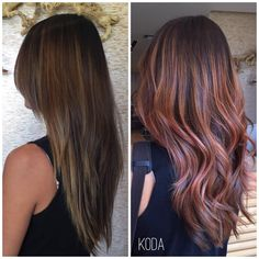 "KODA SALON on Instagram: ""This lovely client wanted a dramatic color change to honor the first day of Fall! Cheng warmed her up with beautiful tones of rose gold. #kodasalon"""