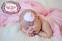 Newborn shabby headband, headband photo prop, baby girl headband, flower headband, baby headband, shabby headband, white and pink headband on Etsy, $4.95