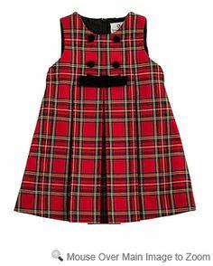 tartan plaid wedding dress for women | ... Eiseman Girls Red / Black Holiday Tartan Plaid Dress - Velvet Trim