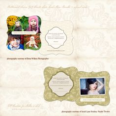 Buttermint ~ Creme 3x3 Ornate Luxe Referral Cards - Photographer Templates - Photographer Photoshop Templates and Marketing Materials