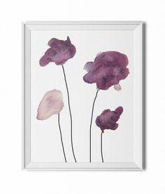 Four Purple Watercolor Flowers - 8x10 PDF Instant Download