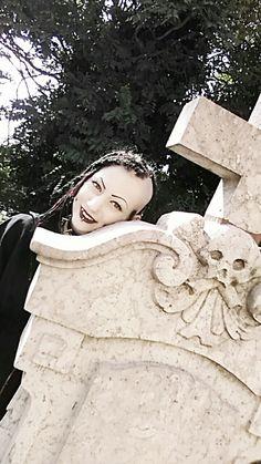 Cemetery in Hungary (me!)  #metalgirl#metalhead#blackmetalgirl#metallady#black#dark#death#tattoo#piercing#hellgirl#dreadlocks#witch#blackwitch#darkwitch#dimplepiercings#beauty#witchgirl#blackmetal#goth#burnyourlocalchurch#rivet#spike#gothic#darkness#skull#gothic#porcelainblack#cemetery#passion#tombstone#tomb