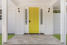 An elegant Hamptons-style home designed to suit its beautifully verdant location. This white weatherboard-clad house is classic and timeless; House Design, Open Space Living, House, Front Door, Custom Built Homes, Contemporary Chandelier, Hamptons Style Homes, Yellow Front Doors, Breezeway