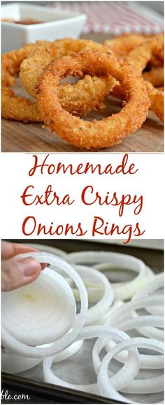 These onion rings are extra crispy and extra delicious! – Tracee Greenwood These onion rings are extra crispy and extra delicious! These onion rings are extra crispy and extra delicious! I Love Food, Good Food, Yummy Food, Yummy Mummy, Yummy Eats, Yummy Snacks, Snacks Homemade, Homemade Hamburgers, Healthy Food