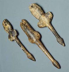 Pendants shaped like flying birds     Mammoth tusk; carved. Heights 117, 103, 100 mm.   Maltinsko-buretskaya Culture. 23 000 - 19 000 BP  Malta Site (Excavations of M.M. Gerasimov, 1928-1930), Siberia, the River Belaya, near Irkutsk, Russia